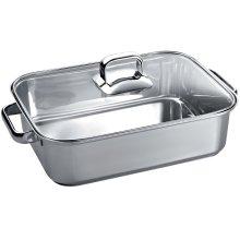 "Stainless Steel Roasting Pan with Glass Lid 10"" x 16"" TROASTERT"