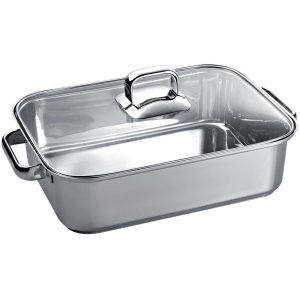 """ThermadorStainless Steel Roasting Pan with Glass Lid 10"""" x 16"""" TROASTERT"""