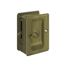 "HD Pocket Lock, Adjustable, 3 1/4""x 2 1/4"" Privacy - Antique Brass"