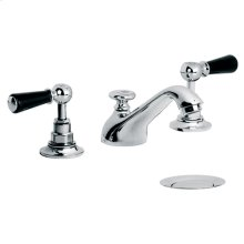 Edwardian three hole basin mixer with black lever and pop up waste