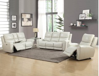 Laurel Power Recline Sofa with Power Headrest, Ivory