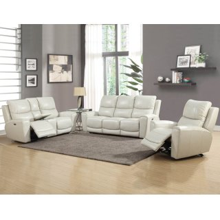 Laurel Power Recline Console Loveseat with Power Headrest, Ivory