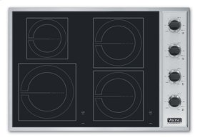 """Stainless Steel/Black Glass 30"""" All-Induction Cooktop - VICU (30"""" wide cooktop)"""