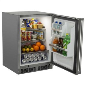 "Marvel24"" Marvel Outdoor Refrigerator with Door Storage - Solid Stainless Steel Door with Lock - Right Hinge"