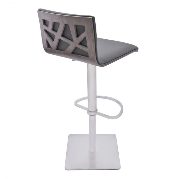 Armen Living Crystal Adjustable Swivel Barstool In Gray Pu With Brushed  Stainless Steel Finish And Gray