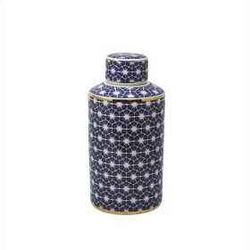 White/blue Jar W/ Gold Edge 12""