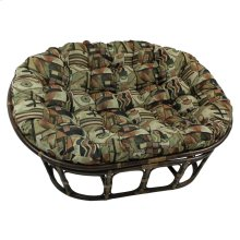 Mamasan Rattan Double Papasan Chair with Tapestry Cushion - Walnut/Picasso