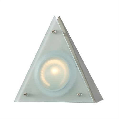 Zee-Puk Wedge w / lamp. Frosted lens / Stainless Steel finish / Triangle Shade
