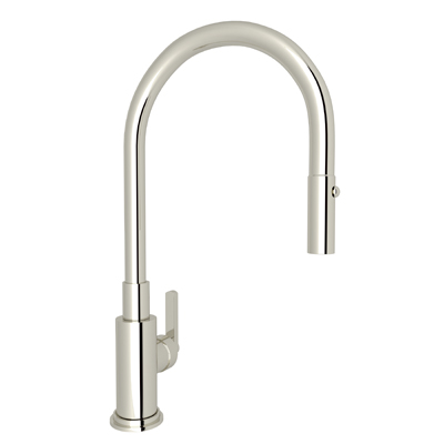 Polished Nickel Lombardia Pull-Down Kitchen Faucet with Country and Classic Metal Lever