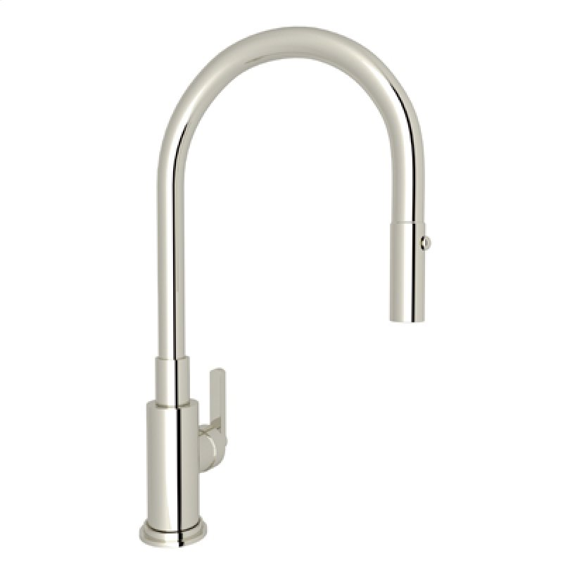 Polished Nickel Lombardia Pull Down Kitchen Faucet With Country And Clic Metal Lever