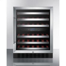 Dual Zone Built-in Wine Cellar With Digital Thermostat, Stainless Steel Trimmed Shelves, and Stainless Steel Wrapped Cabinet