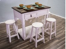 Weathered White Wb Top Island With Stools