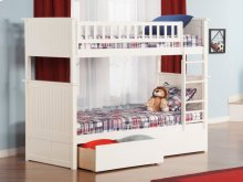 Nantucket Bunk Bed Twin over Twin with Urban Bed Drawers in White