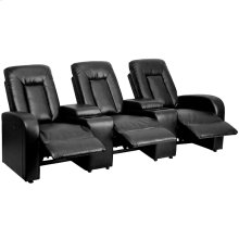 Eclipse Series 3-Seat Push Button Motorized Reclining Black Leather Theater Seating Unit with Cup Holders