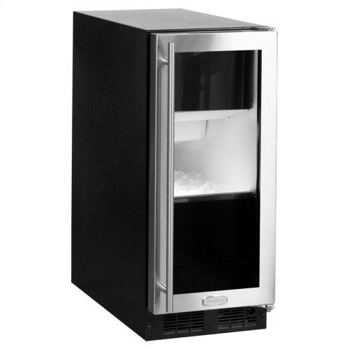 "15"" Marvel Clear Ice Machine with Arctic Illuminice Lighting and Glass Door - Gravity Drain - Stainless Steel Framed Glass Door, Right Hinge"