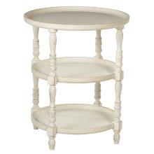 Three Tier Round Whitewash Side Table