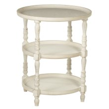 Three Tier Round Whitewash Side Table