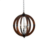 6-Light Mahogany Finish Orb Chandelier with Metal Product Image