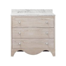Bath Vanity With White Marble Top In Cerused Oak With Nickel Hardware