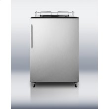 Freestanding auto defrost commercial beer dispenser in black with stainless steel wrapped door and thin handle; no tap kit included