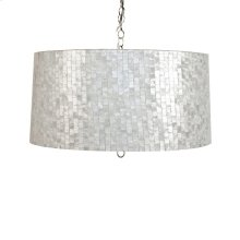 Small Brick Pattern Capiz Shell Pendant. Uses 2 60 Watt Bulbs and Comes With Diffuser. Comes W. 3' Chrome Chain and Canopy.
