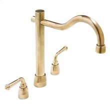 Kitchen Deck Mount Faucet White Bronze Medium