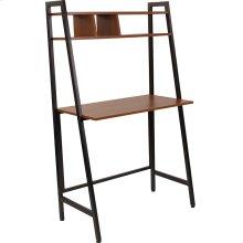 Wilmette Cherry Wood Grain Finish Computer Desk with Storage Shelf and Black Metal Frame