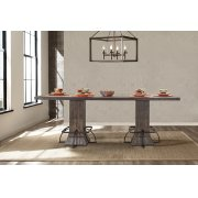 Jennings Rectangle Counter Height Table - Distressed Walnut Wood / Brown Metal Product Image
