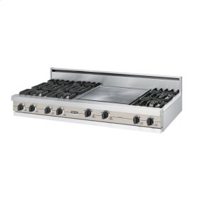 "Oyster Gray 60"" Open Burner Rangetop - VGRT (60"" wide, six burners 24"" griddle/simmer plate)"