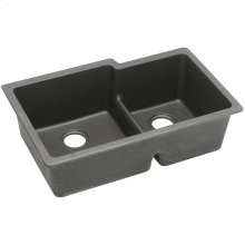 "Elkay Quartz Classic 33"" x 20-1/2"" x 9-1/2"", Offset 60/40 Double Bowl Undermount Sink with Aqua Divide, Dusk Gray"