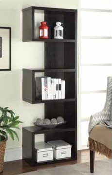 - Five tier bookcase finished in cappuccino- Constructed with MDF, particle board, and engineered veneer- Also available in weathered grey (#800552) and salvaged cabin (#800847) Product Image