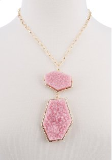 BTQ Pink Stones on Gold Chain Necklace