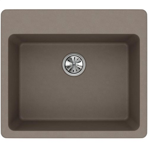 """Elkay Quartz Classic 25"""" x 22"""" x 9-1/2"""", Single Bowl Drop-in Sink, Greige"""
