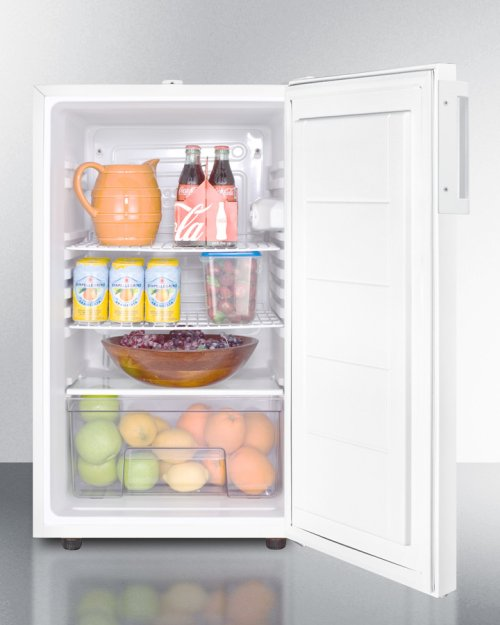 """Commercially Listed ADA Compliant 20"""" Wide Counter Height All-refrigerator, Auto Defrost With A Lock and White Exterior"""