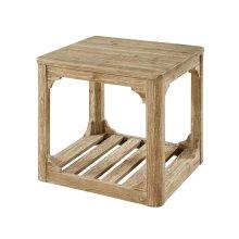 Emerald Home Barnwood End Table W/bottom Slat Shelf-caramel T121-01