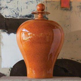 Happy Temple Jar-Orange-Tall