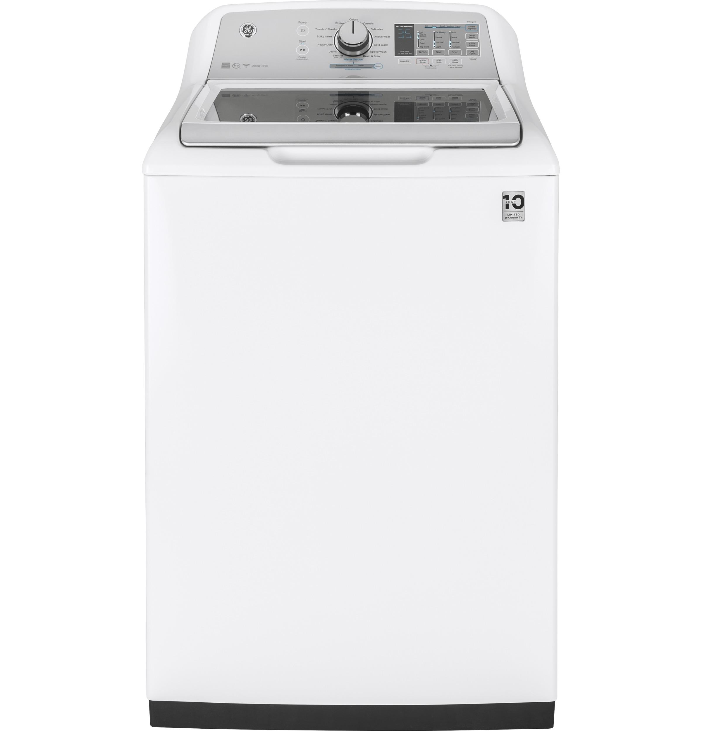 GE(R) 5.0 DOE cu. ft. Capacity Washer with Stainless Steel Basket  WHITE ON WHITE WITH SILVER BACKSPLASH