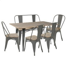 Oregon 6-piece Dining Set - Grey Metal, Bamboo