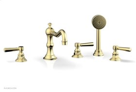 HENRI Deck Tub Set with Hand Shower with Lever Handles 161-49 - Polished Brass Uncoated