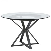 "Armen Living Cairo Round Dining Table in Mineral Finish and 48"" Glass Top Product Image"