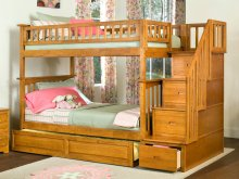 Columbia Staircase Bunk Bed Twin over Twin with Raised Panel Trundle Bed in Caramel Latte