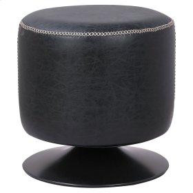Gaia PU Round Ottoman, Vintage Black