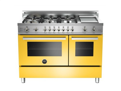 48 6-Burner + Griddle, Gas Double Oven Yellow