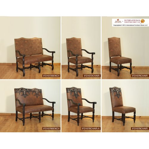 Bench w/Tapestry back, bonded leather seat