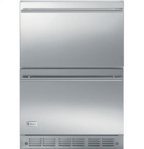 """24"""" Stainless Steel Double Drawer Refrigerator"""