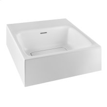 Wall-mounted or counter top washbasin in Cristalplant® (matt white) with overflow waste