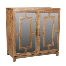 Bengal Manor Acacia Wood 2 Door Mirrored Cabinet