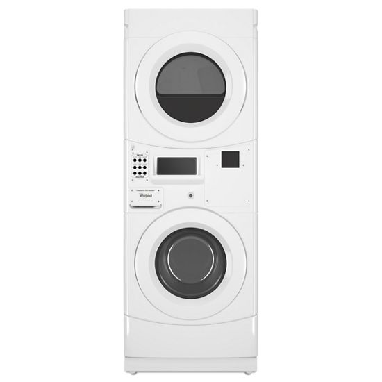 Whirlpool(R) Commercial Electric Stack Washer/Dryer, Non-Vend and Card Reader-Ready - White  WHITE