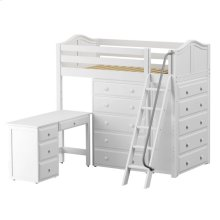 High Loft w/ Angle Ladder, 2 x5 Drawer Dressers & Desk : Twin : White : Curved