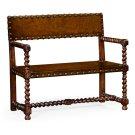 Tudor Style Leather Bench (Walnut) Product Image